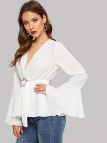 Flounce Sleeve O-ring Belted Wrap Peplum Top
