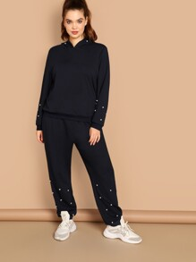 Plus Pearls Beaded Hoodie & Pants Set