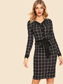 80s Button Front V-neck Grid Top &  Belted Skirt Set