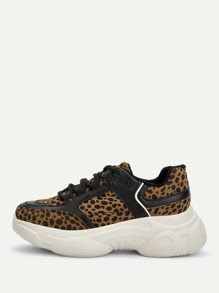 Leopard Print Chunky Sole Sneakers
