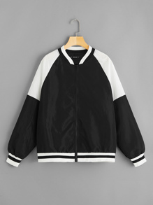 Plus Two-tone Raglan Sleeve Stripe Trim Bomber Jacket