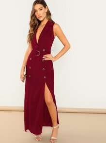 Double Button Deep V Neck Belted Slit Dress