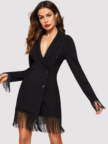 Fringe Trim Shawl Collar Double Breasted Coat