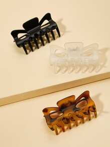 Plain & Tortoiseshell Hair Claw 3pack
