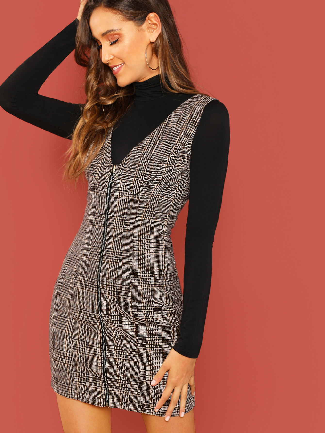 Zipper Up Glen Plaid Pinafore Dress by Romwe