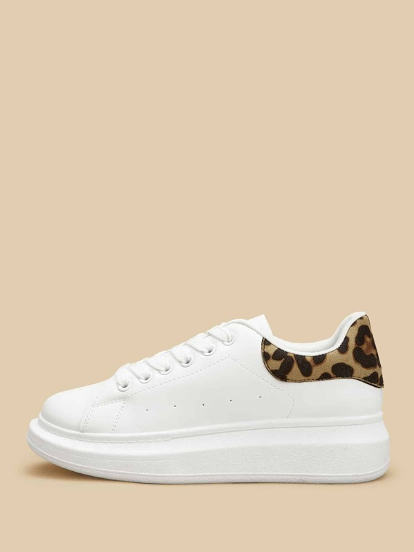 d26f93187 Leopard Print Lace-up Sneakers | SHEIN UK