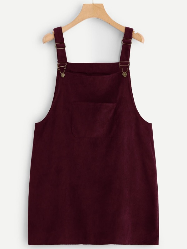 Plus Pocket Front Corduroy Pinafore Dress | SHEIN