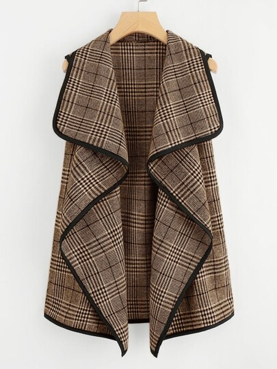 Plus Contrast Trim Plaid Sleeveless Jacket