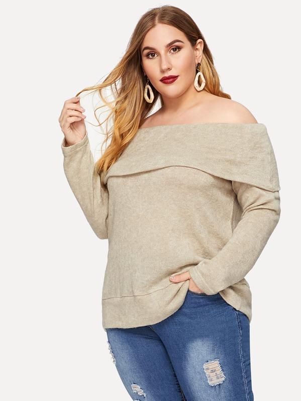 d9b406112a361 Cheap Plus Off Shoulder Foldover Knit T-shirt for sale Australia