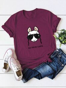Animal And Letter Print Tee