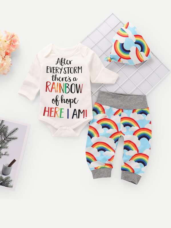 64ea378f421f9 Toddler Boys Letter Print Jumpsuit & Rainbow Print Pants & Hat | SHEIN