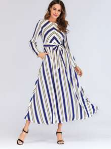 Waist Tie Striped Longline Dress