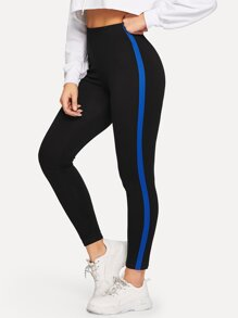 Tape Detail Elastic Waist Leggings