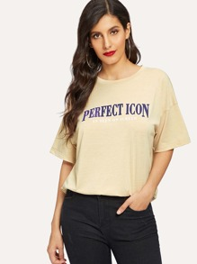 Letter Print Drop Shoulder Tee