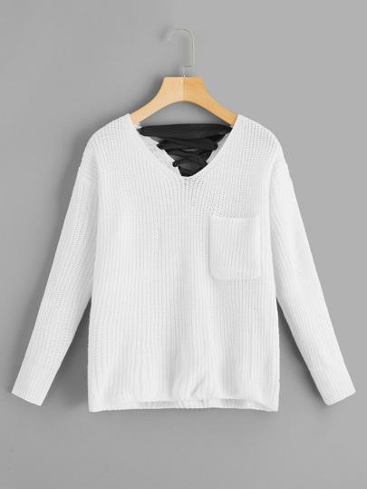 V Neckline Lace Up Back Texture Knit Sweater  4c4cd1c39