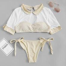 SHEIN   Tie Side Two Piece Swimwear   Goxip