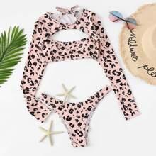 SHEIN   Cut-out Random Leopard Two Piece Swimwear   Goxip