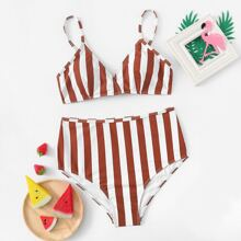 Random Striped High Waist Bikini Set