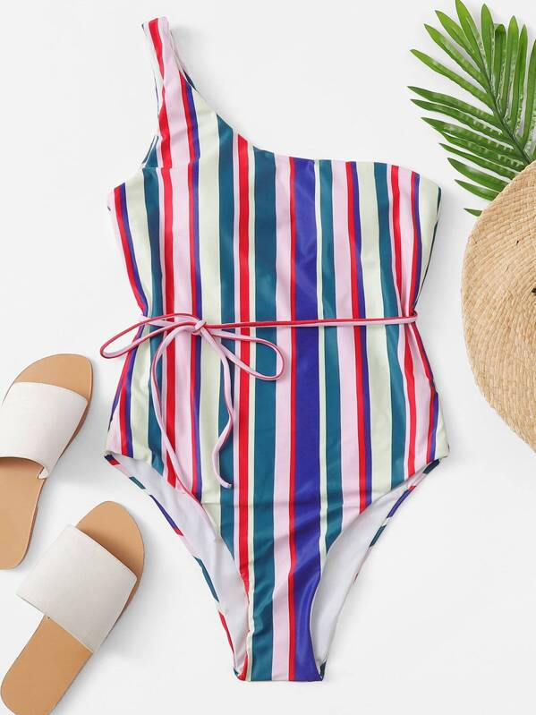 d59b8770e6 One Shoulder Belted Striped One Piece Swimsuit | SHEIN