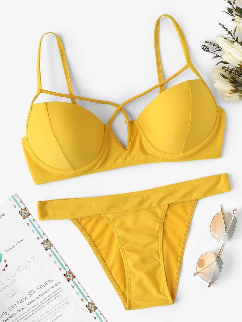 Top High Criss Bikini Set Cross With Leg UpGqSzMV