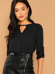 V Cut Neck Roll Tab Sleeve Top