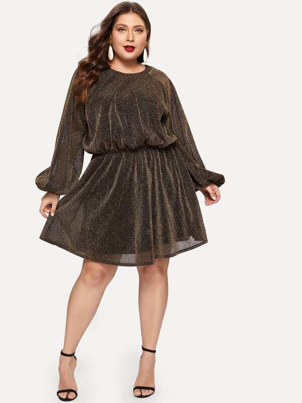 Plus Balloon Sleeve Glitter Dress