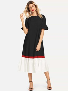 Color-block Ruffle Cuff & Hem Dress