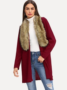 Open Front Faux Fur Neckline Coat