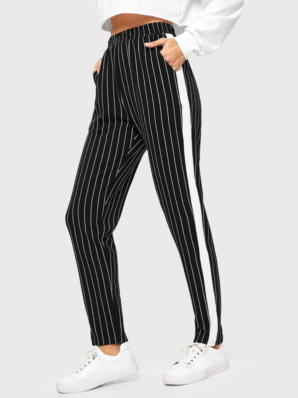 ef334ee96e Slant Pocket Striped Pants | SHEIN
