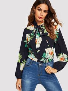 Tie Neck Flower Print Top