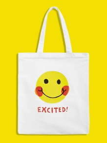 Smile Print Canvas Tote Bag