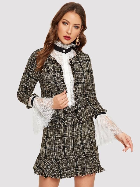 b66ad04a1d Frayed Trim Tweed Blazer & Skirt Set | SHEIN