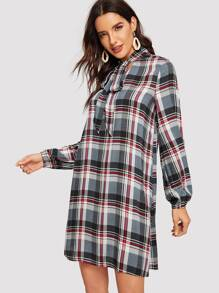 Tied Neck Plaid Dress