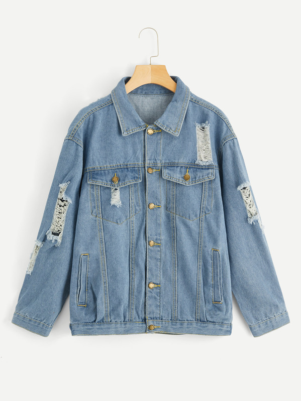 limited quantity official site available Bleach Wash Ripped Denim Jacket