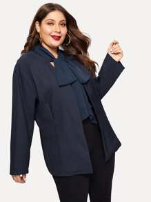 Plus Open Front Tied Neck Coat
