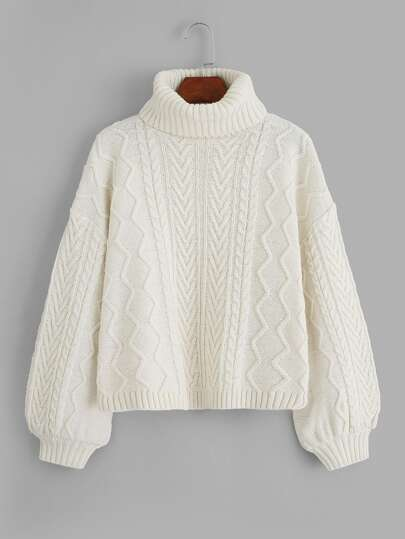 Lantern Sleeve Rolled Neck Sweater