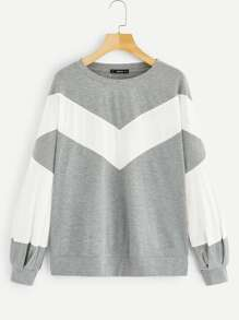 Cut And Sew Two Tone Sweatshirt