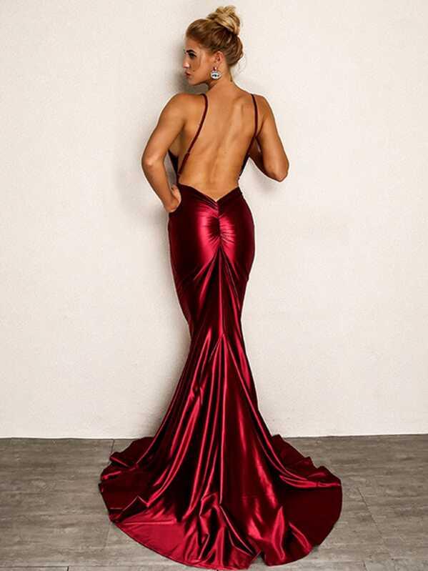 7adadae30ec Joyfunear Backless Fishtail Satin Cami Prom Dress