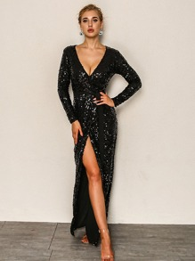 Plunging Neck Surplice Neck Belted Sequin Dress