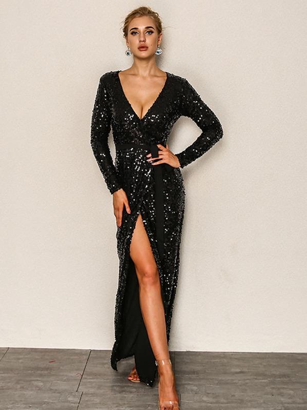 1e3ba4a88d390 Joyfunear Surplice Neck High Split Belt Sequin Dress   SHEIN