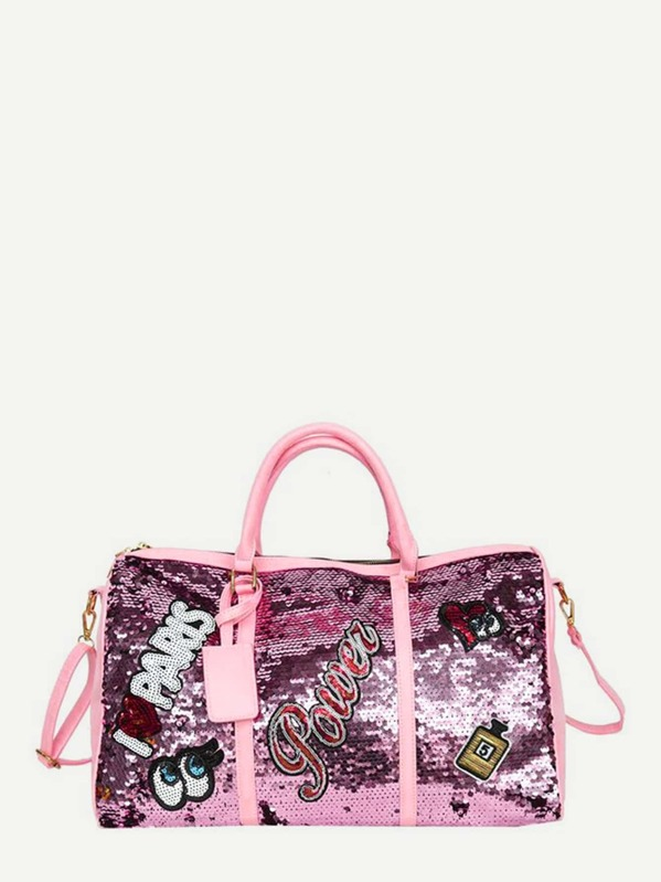 655c045e4a Sequins Patch Decor Duffle Bag