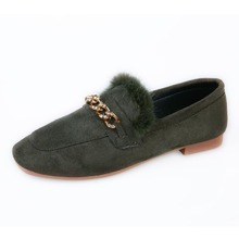 Chain Decor Fluffy Flat Loafers