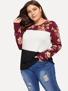 Plus Color-block Floral Print Top
