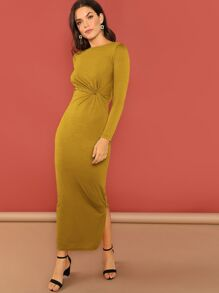 Twist Front Solid Split Dress