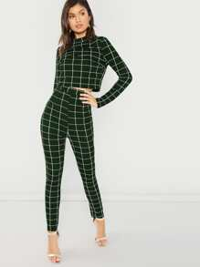 Mock-neck Grid Top & Leggings Set