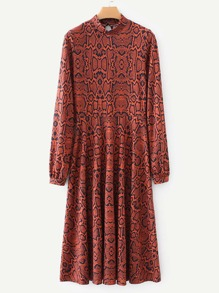 Snakeskin Print Mock Neck Dress