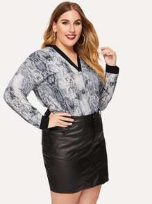 Plus V-neck Snake Print Blouse