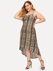 Plus High Low Snake Print Cami Dress