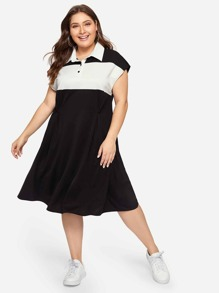 Plus Color-block Polo Tee Dress