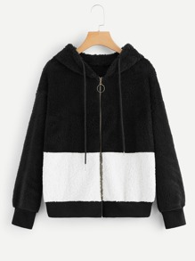 Two Tone Drawstring Teddy Hooded Jacket